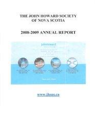2008-2009 Annual Report - John Howard Society of Nova Scotia