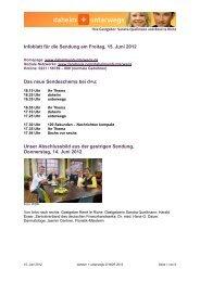 Infoblatt für die Sendung am Freitag, 15. Juni 2012 Das neue ...