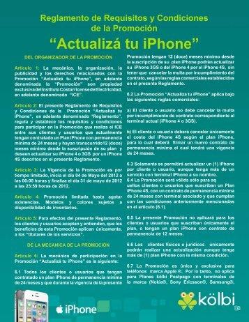 Condiciones Promoción Actualizá tu iPhone - Grupo ICE