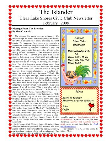 February 2008 - Clear Lake Shores Civic Club