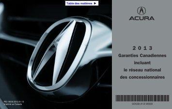 Garanties Canadiennes incluant le réseau national des ... - Acura