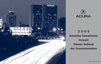 Garanties Canadiennes Incluant Réseau National des ... - Acura