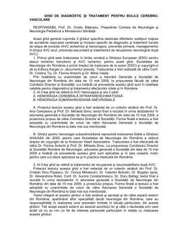 GHID DE DIAGNOSTIC ŞI TRATAMENT PENTRU BOLILE CEREBRO