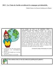 2012 : Les Nains de Jardin envahissent la campagne ... - Ecobase 21