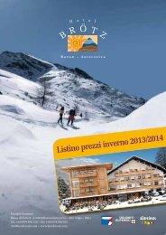 Listino prezzi inverno 2013/2014 - Hotel Brötz