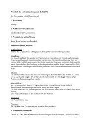 Protokoll der Vorstandssitzung vom 26.06.2003 Der Vorstand ist ...