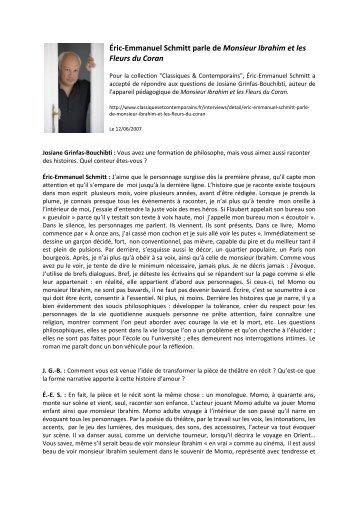 Éric-Emmanuel Schmitt parle de Monsieur ... - Le Livre de Poche