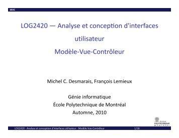 Analyse et concepon d interfaces utilisateur Modèle-Vue ... - Cours