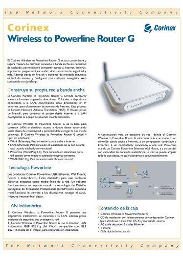 Wireless to Powerline Router G - Corinex