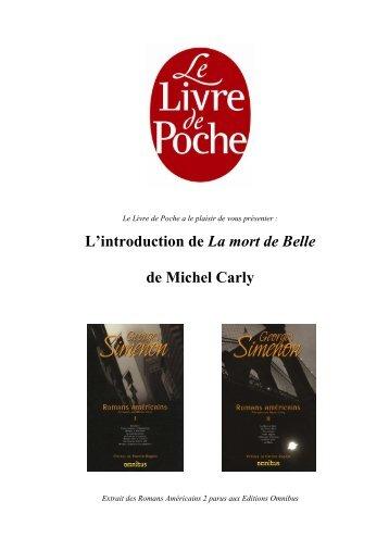 L'introduction de La mort de Belle de Michel Carly - Le Livre de Poche