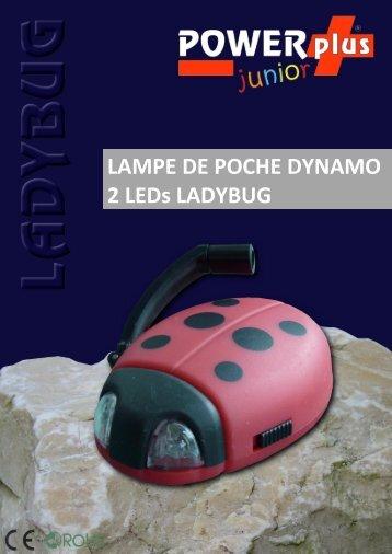 LAMPE DE POCHE DYNAMO 2 LEDs LADYBUG - Eqwergy