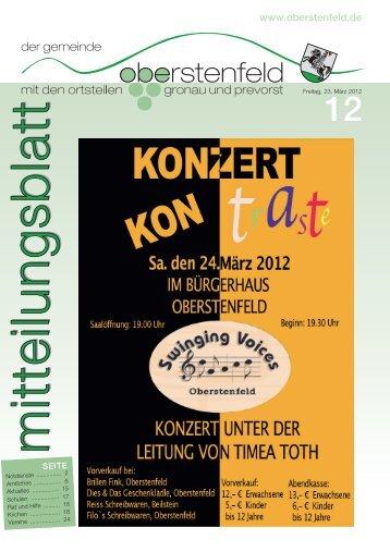 Sonntag, 25. März 2012 ab 11.00 Uhr - Gemeinde Oberstenfeld