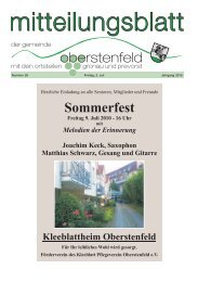 Sommerfest Freitag 9. Juli 2010 - 16 Uhr - Gemeinde Oberstenfeld