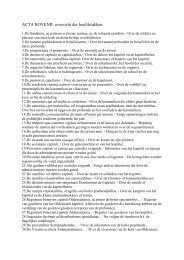 ACTA ROVENII: overzicht der hoofdstukken.