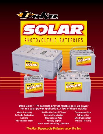PHOTOVOLTAIC BATTERIES - Solar Panels