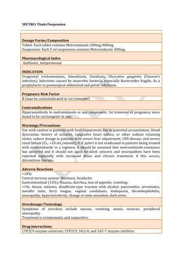 metro 200mg tablet - Lomus Pharmaceuticals Pvt. Ltd.