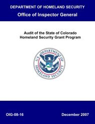 Audit of the State of Colorado Homeland Security Grant Program ...