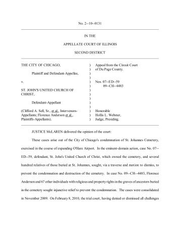 No. 2--10--0131, The City of Chicago v. St. John's ... - State of Illinois