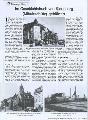 Im Geschichtsbuch von Klausberg - oberschlesien-aktuell.de