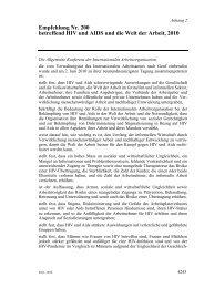 Empfehlung Nr. 200 betreffend HIV und AIDS und die Welt der ...