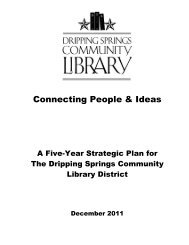 Five-Year Plan - Dripping Springs Community Library