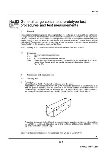 General cargo containers: prototype test procedures and test ... - IACS