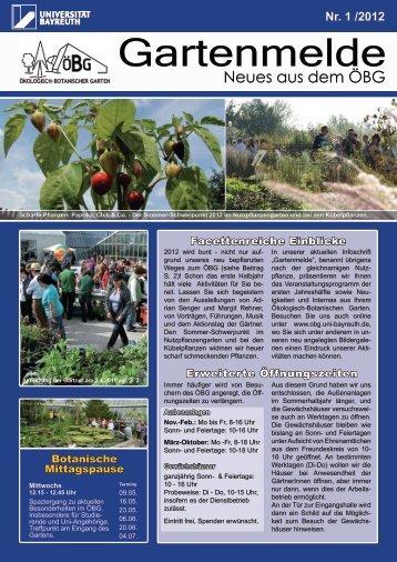 Ausgabe 2012/1 - Ökologisch-Botanischer Garten - Universität ...