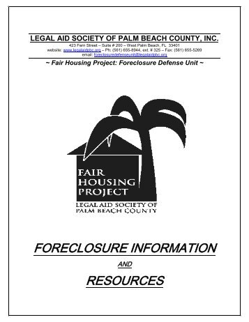 Foreclosure Information and Resources Booklet - Legal Aid Society