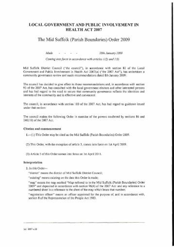 The Mid Suffolk (Parish Boundaries) Order 2009 - Mid Suffolk District ...