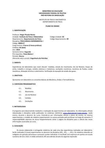 Plano de Ensino - Chasqueweb.ufrgs.br - UFRGS