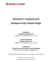 RÖVIDÍTETT TÁJÉKOZTATÓ Budapest Arany ... - Budapest Bank
