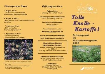 Tolle Knolle - Kartoffel - Ökologisch-Botanischer Garten - Universität ...