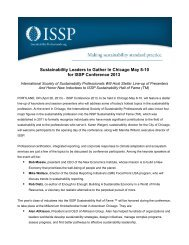 Sustainability Leaders to Gather In Chicago May 8-10 for ISSP ...