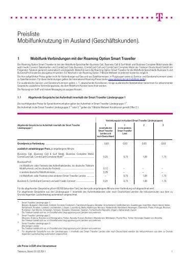 Preisliste Mobilfunknutzung im Ausland (Geschäftskunden).