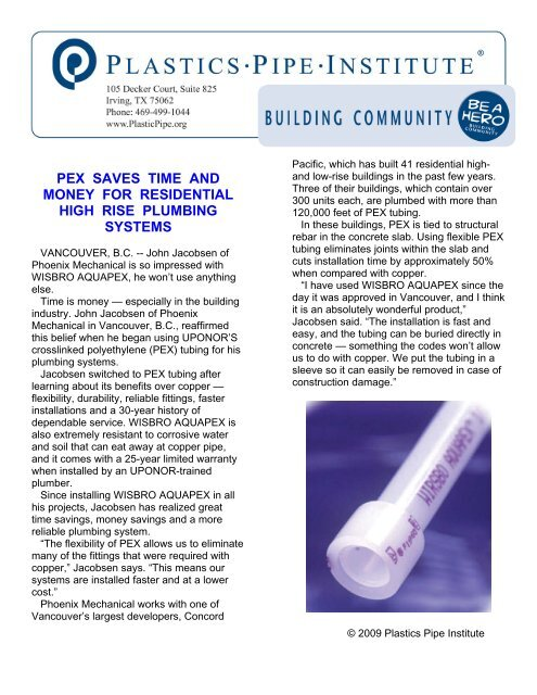 pex saves time and money for residential high rise plumbing systems