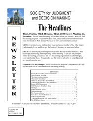 The Headlines - Society for Judgment and Decision Making