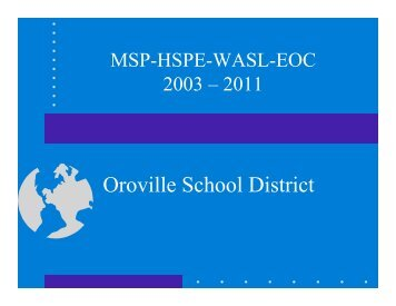 District WASL/MSP/HSPE/EOC Summary results - Oroville School ...