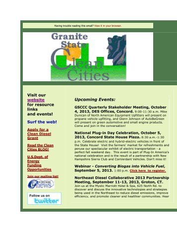 September 2013 - Granite State Clean Cities Coalition - NH.gov