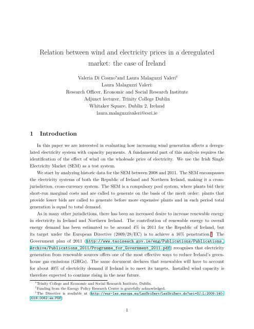 Relation between wind and electricity prices in a deregulated market ...
