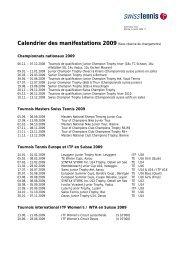 Calendrier des manifestations 2009(Sous réserve de ... - Swiss Tennis