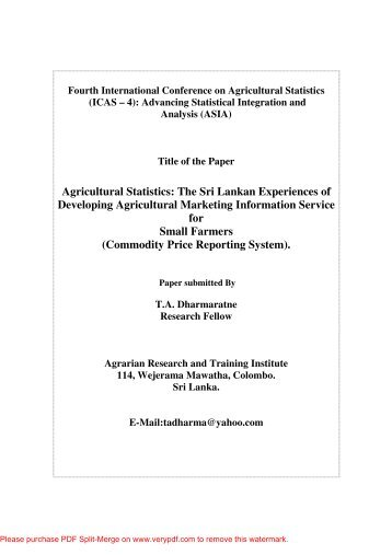 Agricultural Statistics: The Sri Lankan Experiences of Developing ...