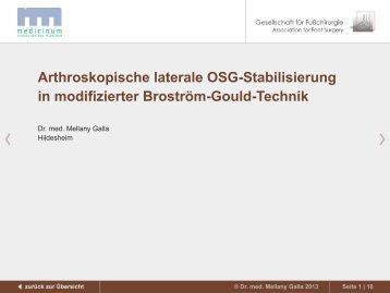 Arthroskopische laterale OSG-Stabilisierung in modifizierter ...