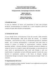Antropologia Culturale e Sociale - Facoltà di Scienze della ...