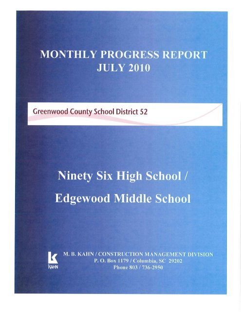 Update August 16, 2010 - Greenwood County School District 52