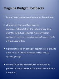 Ongoing Budget Holdbacks - Vice President for Finance and ...