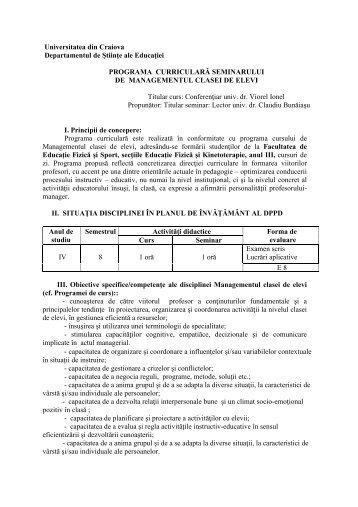 Programa sem. Manag. clasei, EFS III, 2011-2012 - Universitatea din ...