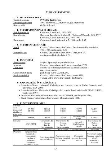 1/4 CURRICULUM VITAE 1. DATE BIOGRAFICE Nume şi prenume ...