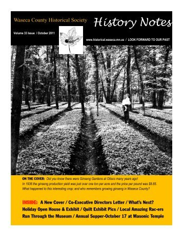 2011FallVol33Issue4 Web - Waseca County Historical Society