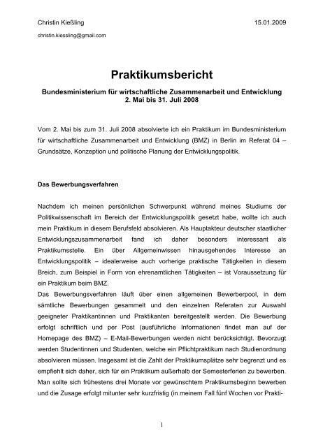 Praktikumsbericht Christin Kiessling