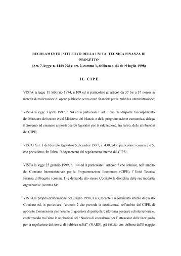 Regolamento istitutivo della Unità tecnica Finanza di Progetto - UTFP